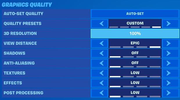 Réglage Qualité graphique Fortnite
