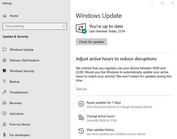 verifiez vos mises à jour de windows